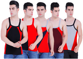 Men's Sleeveless Army Printed Casual Cotton Sports Gym Wear Vest 5 Pcs Combo Multicolor