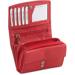 Ft Genuine Leather Red Color Formal Wallet For Women