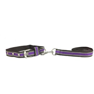 Wuff Wuff Purple Neck Collar Belts and Leash Set for Dog  (Size-1.5 inch