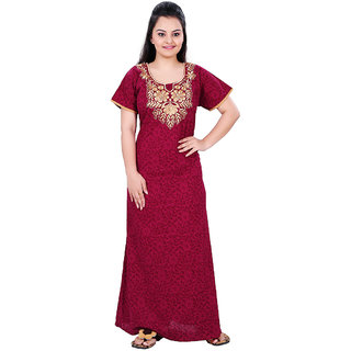 Women's Cotton Embroidered Nighty