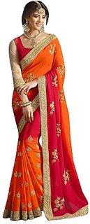 Ruchika Fashion Red Orange Georgette Saree