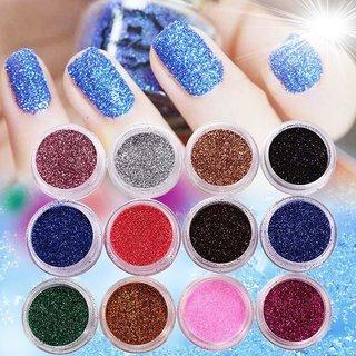 12 PCS MIX COLOR GLITTER DUST POWDER SET for Nail Art ACRYLIC TIPS DECORATION nail acrylic nail glitter dust