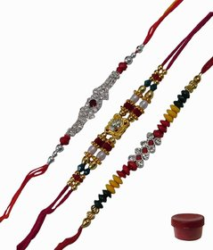 Stunnig Set of 3 Fancy  AD Rakhis