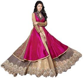 VKARAN Women's Pink Georgette Dress Material(SL004)