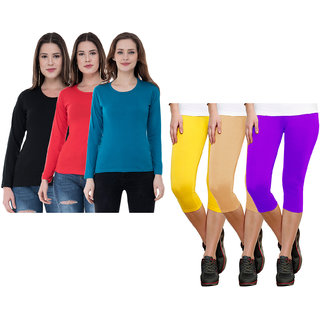 Indiweaves Women Cotton Capris And Half Sleeves T-Shirts Pack Of 6