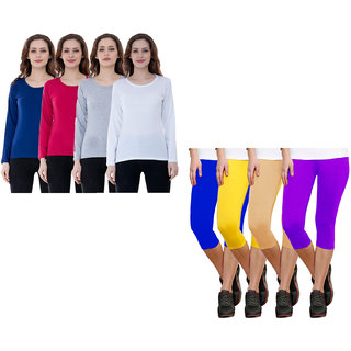 Indiweaves Women Cotton Capris And Half Sleeves T-Shirts Pack Of 8