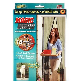 Nucleya Retail   Magic Mesh Screen Door Net with Magnets Anti Insects Mosquito Flies Bugs Curtain (Multicolour)