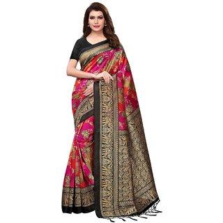 b1dbdde52e9 Indian Beauty Women's Black Color Kalamkari Mysore Silk Printed Saree  Border Tassels With Blouse Piece(NIRVAA HATHI-BLACKFree Size)