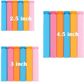 Homeeware 3 Different Size Plastic Pouch Clip Sealer for Keeping Food Fresh/Camping Snack /Bag,Multicolour- 18 Pieces