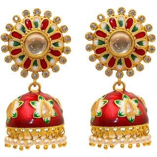 Jewar Mandi Earring Kundan Pearl Polk Gold Plated Look Ad Cz Gemstones Dangle Jhumka/Jhumki Handmade Meena Art Jewelry for Women  Girls 8256
