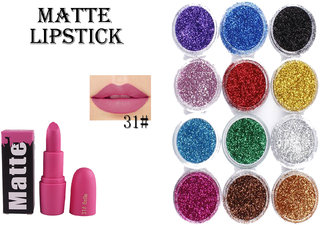 Miss Rose Long Lasting Matte Lipstick  Multi color Imported  pigment Pack of 12 Pcs Different Color 3D Glitter