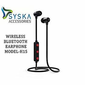 SYSKA H-15 Wireless (HI-FI Stereo Sound With Mic) Bluetooth Earphone(Black/Red)