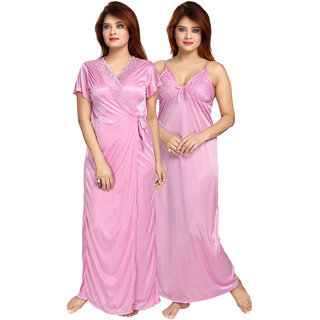 Be You Women Satin Lace Nighty with Robe - Pink - Free Size