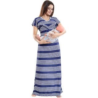 Be You Women Serena Satin Striped Nursing / Feeding Gown - Blue - Free Size