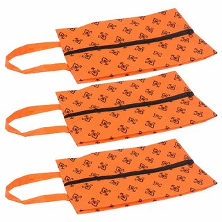 PrettyKrafts Shoe Cover, Shoe Bag with Center Zipper- Large (Set of 3 pcs) - Orange