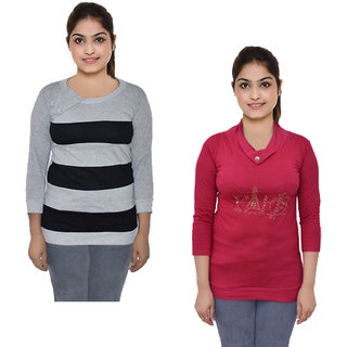 IndiWeaves Women 3/4th Sleeves Printed Tops T-Shirts (Pack of 2)