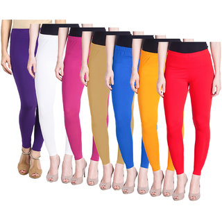 IndiWeaves Women Solid Churidar Cotton Lycra Leggings (Pack of 7)