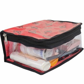 PrettyKrafts Cosmetic Kit  Toiletry Kit  Cosmetic Organiser  Make up Kit (Single) - Red