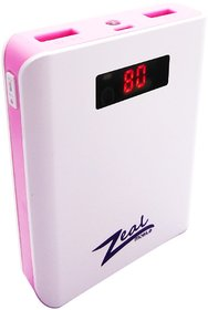 Zeal Z-10 10400 mAh Digital Power Bank (White  Pink)