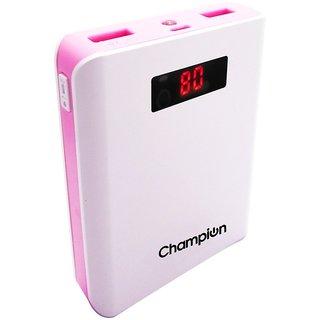 Champion Z 10 10400 mAh Digital Power Bank  White Pink