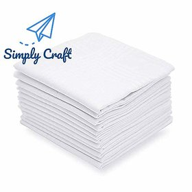 SimplyCraft 100 Pure Cotton White Mens Handkerchiefs Professional Quality - Pack of 10