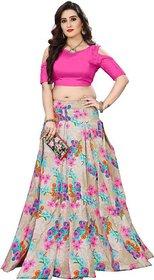 Designer Pink And Grey Color Bangalore Satin Semi Stitched Lehenga Cho