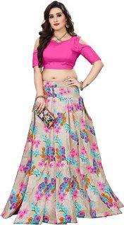 New Designer  Pink and Grey Color Bangalore Satin Semi Stitched Lehenga Choli By Omstar Fashion(GALGOTAPINK)