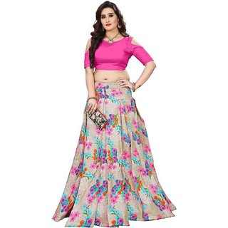 586326cd64 New Designer Pink and Grey Color Bangalore Satin Semi Stitched Lehenga Choli  By Omstar Fashion(GALGOTAPINK)