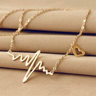 Sukkhi Alloy Gold Plated Heartbeat Contemporary Adjustable Necklace Chain