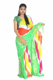 Saree Jodhpuri Rajasthani Bhandej Light Green Multi Colour Regular Pattern And World Famous Design by MS6 Production