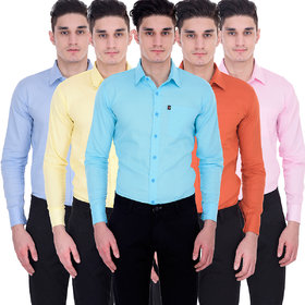 Zories Solid Multicolor 100 Cotton Regular Collar Casual Comfort Fit Shirts For Men- Pack Of 5