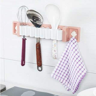 Nucleya Retail Mighty Rack Multi Utility Wall Mount Kitchen Mighty Rack for Serving Spoons Multi Colour
