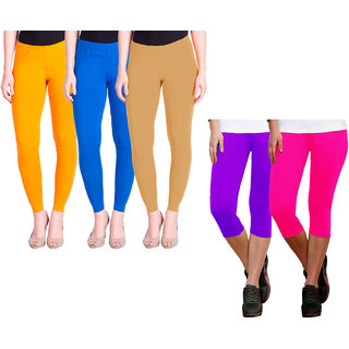 Indiweaves Women Cotton Solid 3/4Th Capri And Solid Legging (Pack Of 5)
