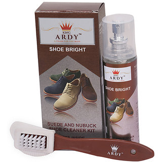 KingArdy SHOE BRIGHT Suede and Nubuck Shoe Cleaner Kit with Free Cleaning Brush- 135ML