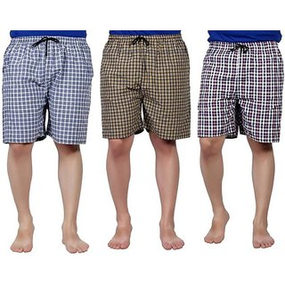 Pack of 3 Checkered Multicolor Bermuda For Men By Fashlook