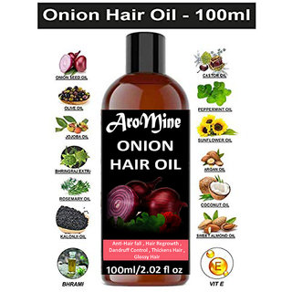AroMine Pure and Organic Onion Hair Oil For Hair Growth, Anti Dandruff and For Hair Fall Control 100ml