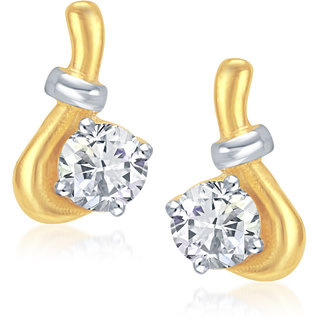VK Jewels Hook Lock Gold and Rhodium plated Solitaire Earrings -  ER1053G [VKER1053G]