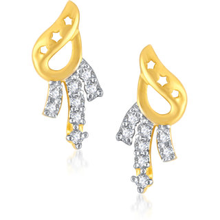 VK Jewels Three Lines Gold And Rhodium Plated  Earrings-ER1112G [VKER1112G]