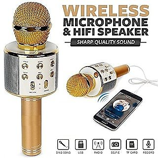 Q7 Handheld Wireless Bluetooth Singing Mic Speaker Player Microphone (Multicolor)