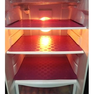 Khushi Creation  PVC Fridge Mat Pack 0f 6 Coin Refrigerator Drawer Mat  (Maroon)