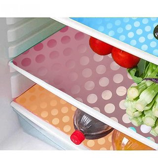 Khushi Creation Multicolor Refrigerator Drawer Mats/Multi Purpose Mats Set Of 6 Pcs In Coin Design   (Medium)