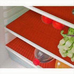 E-Retailer Plastic Fridge Mat/Refrigerator Drawer Mat/ Place Mat Set of 3 Pcs (1319 Inch) Multi Purpose Use(Red, Free)