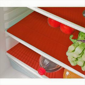 E-Retailer Red Waves Design Refrigerator Drawer Mats / Fridge Mats Pack of 6 pc's 13X19 Inches