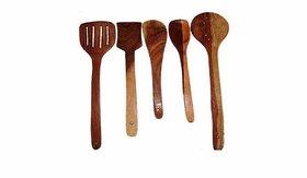 Brown Wooden Skimmer Spoons - Set Of 5