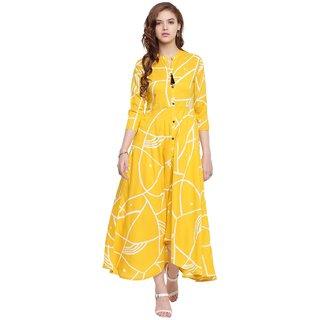 Kaprewal Rayon Printed Yellow Flered Long Kurti