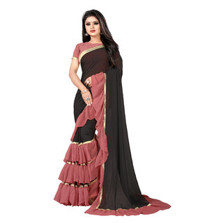 Anjaneya Sarees Women's Black Dusty Red Self Design Solid Ruffle Saree With Blouse(Golden Border)