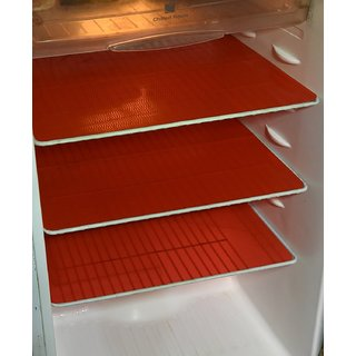 Kuber Industries Refrigerator Drawer Mat / Fridge Mat/ Multipurpose Mat Set of 6 Pcs (1319 inches) (Red)