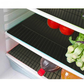 Kuber Industries Refrigerator Drawer Mat / Fridge Mat/ Multipurpose Mat Set of 6 Pcs (1319 inches) (Black)