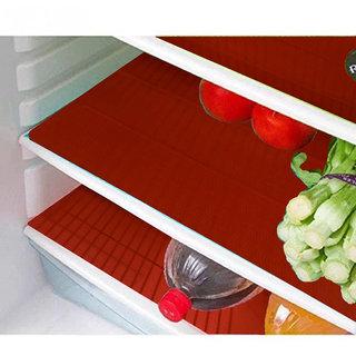 Kuber Industries Refrigerator Drawer Mat / Fridge Mat/ Multipurpose Mat Set of 6 Pcs (1319 inches) (Red)