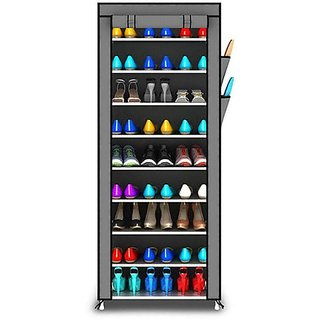 House of Quirk Metal Collapsible Shoe Stand 9 Layer ShoeRack